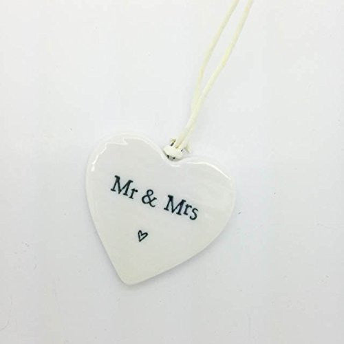 Mr & Mrs - Mini Porcelain Heart - Fifth Corner & BlueBird