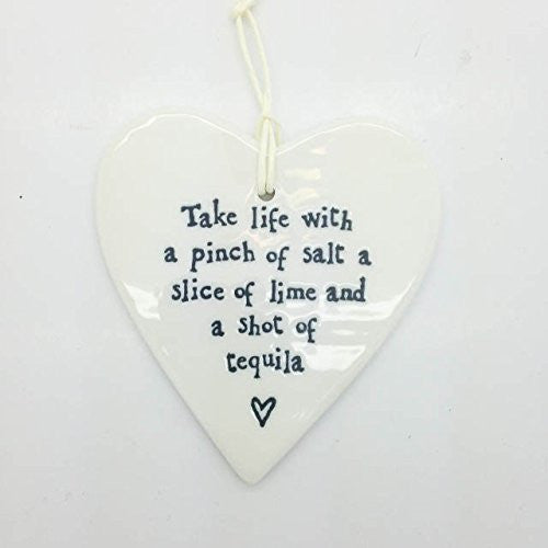 Porcelain Hanging Heart - Take Life With A Pinch Of Salt - Fifth Corner & BlueBird