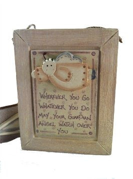 Wherever You Go Whatever You Do - Wooden Plaque With Angel - Fifth Corner & BlueBird