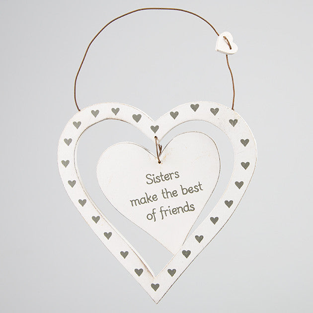 Sisters Make The Best of Friends - Dainty Heart Plaque - Fifth Corner & BlueBird