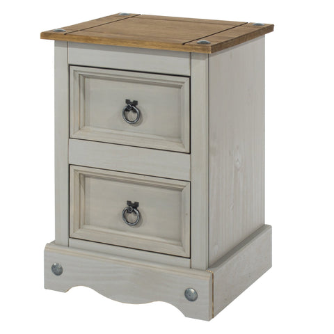 Petite 2 Drawer Bedside Grey Washed Pine