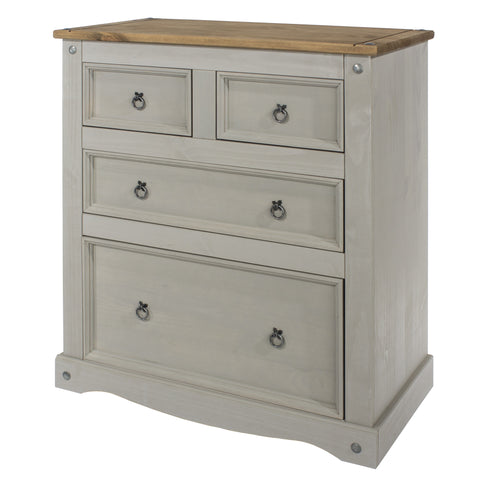 2 + 2 Chest Of Drawers Grey Washed Pine