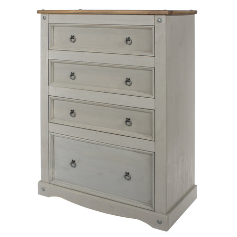 4 Drawer Chest Grey Washed Pine