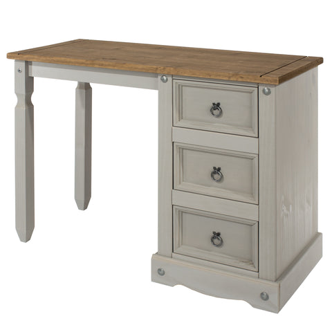 3 Drawer Desk/Dressing Table Grey Washed Pine
