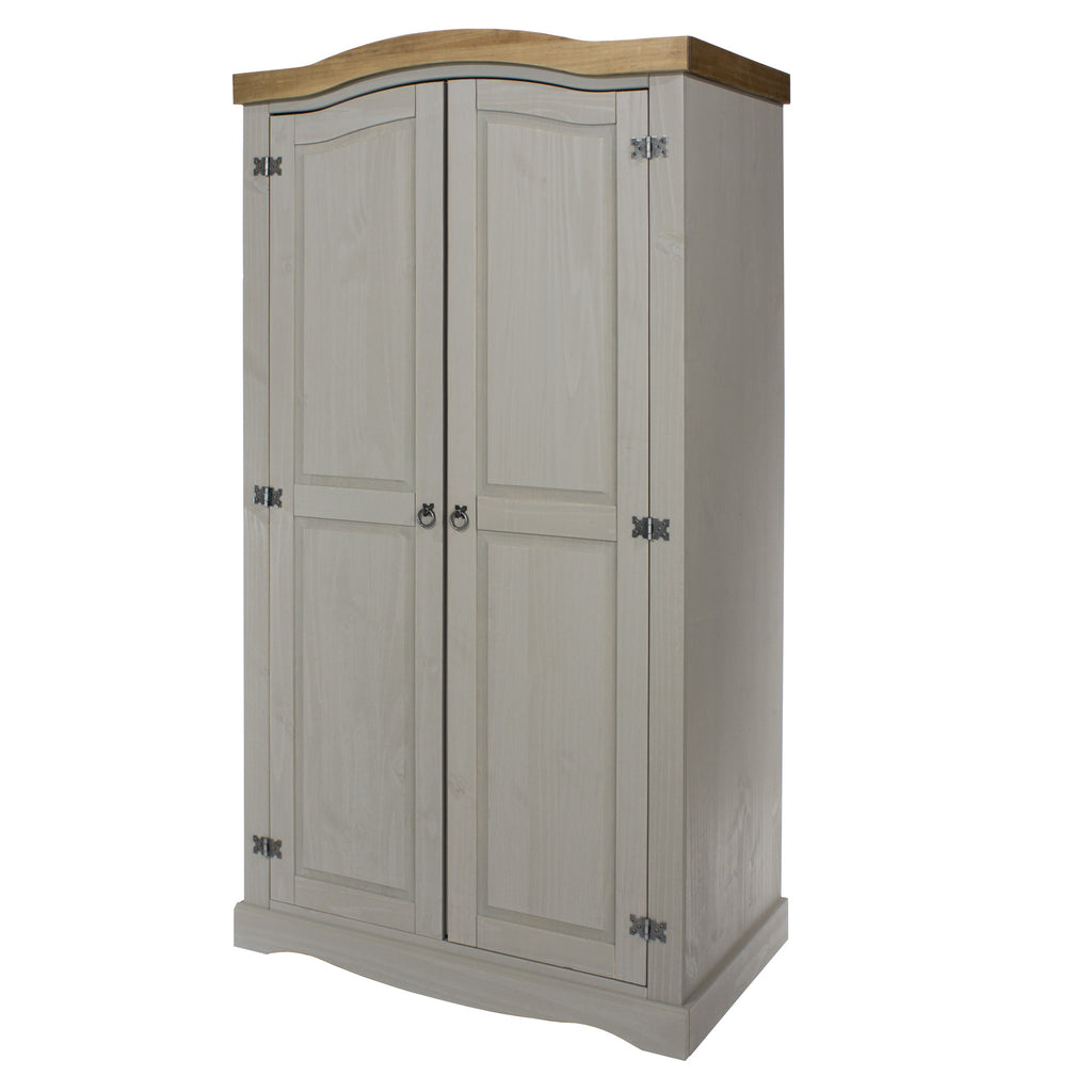 2 Door Arch Top Wardrobe Grey Washed Pine