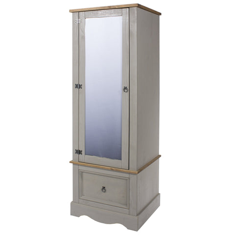 Single Mirrored Door 1 Drawer Wardrobe Grey Washed Pine