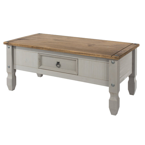 Coffee Table With Drawer Grey Washed Pine