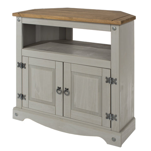 High Corner TV Unit Grey Washed Pine