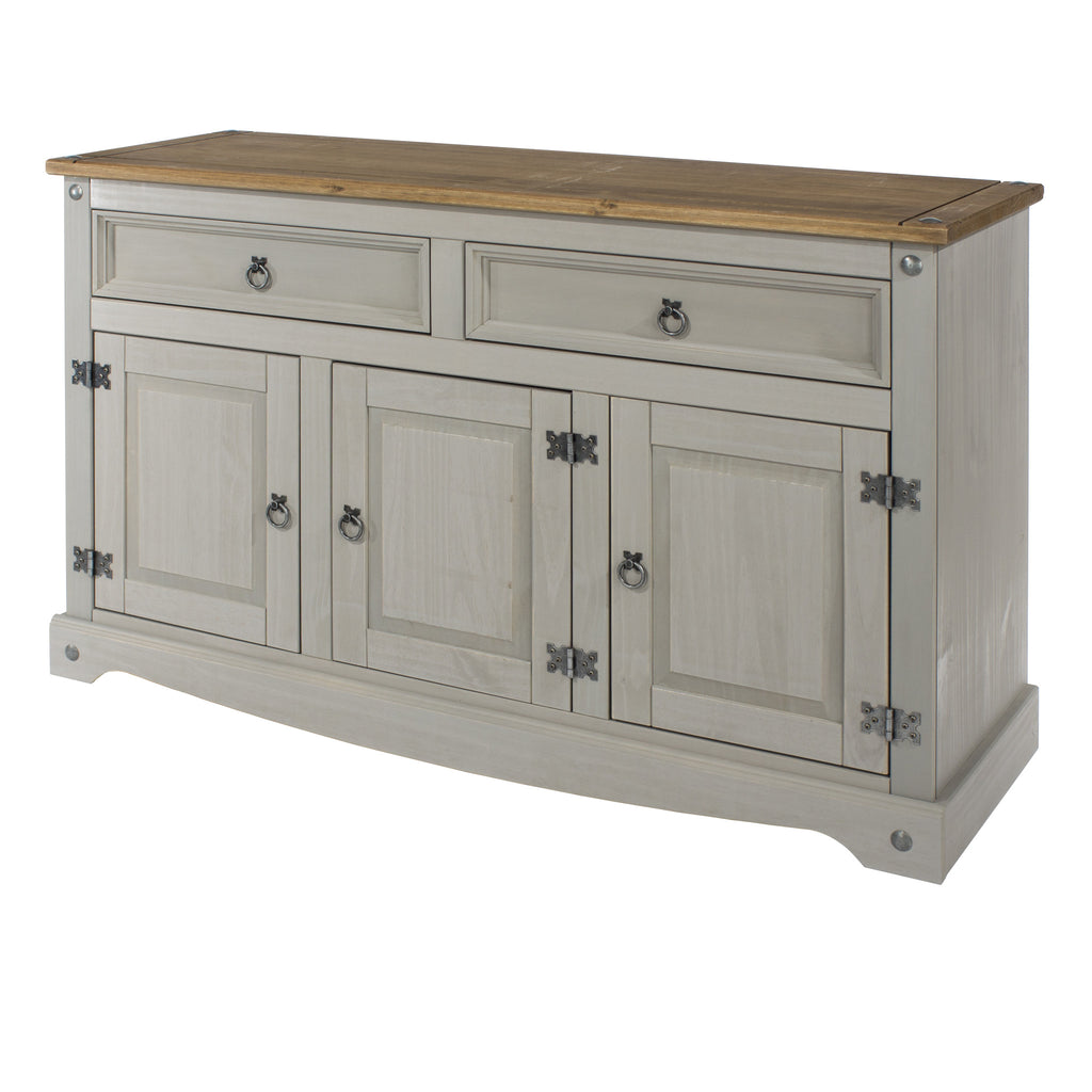 2 Drawer 3 Door Sideboard Grey Washed Pine