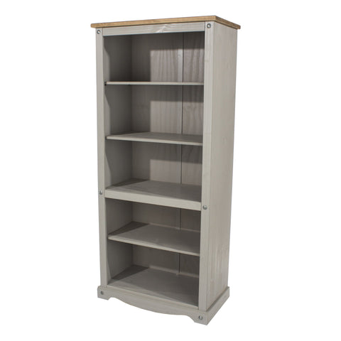 Open Bookcase Grey Washed Pine