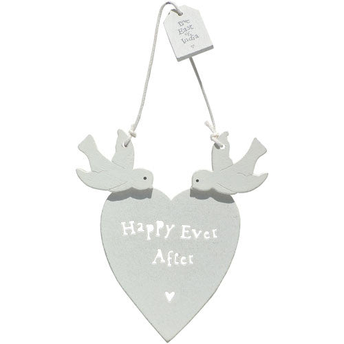 Happy Ever After Wooden Heart With Doves - Fifth Corner & BlueBird