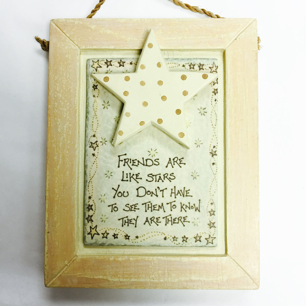 Friends Are Like Stars - Plaque With Wooden Star - Fifth Corner & BlueBird - 1