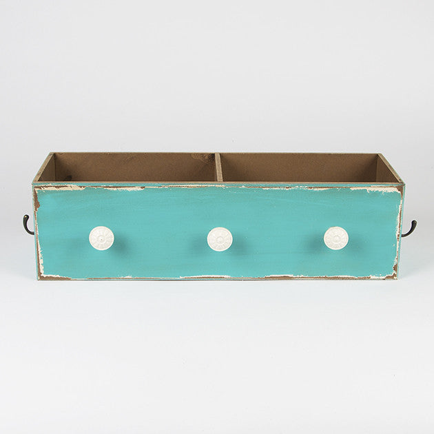 Victorian Style Blue Double Drawer with Hooks - Fifth Corner & BlueBird