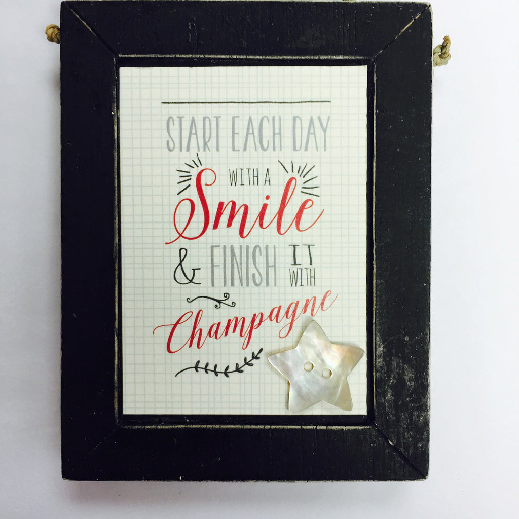 Start Each Day with a Smile - Black Plaque - Fifth Corner & BlueBird - 1