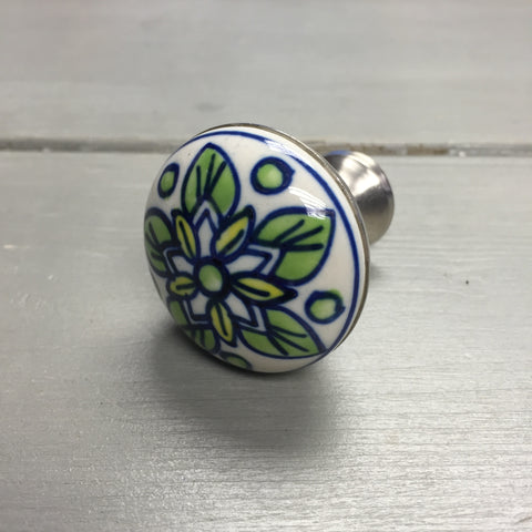 Drawer knobs, blue & green flower