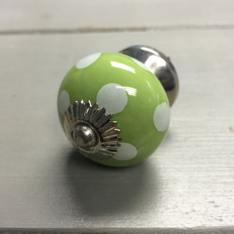 Drawer knobs, green polka dot