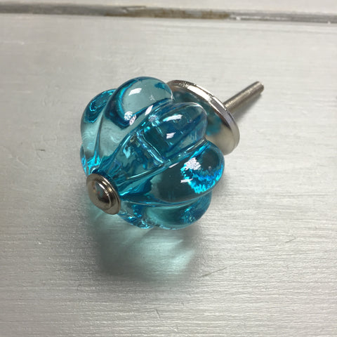 Drawer knobs, clear blue melon