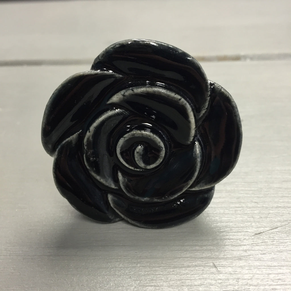 Drawer knobs, large black rose - Fifth Corner & BlueBird - 1