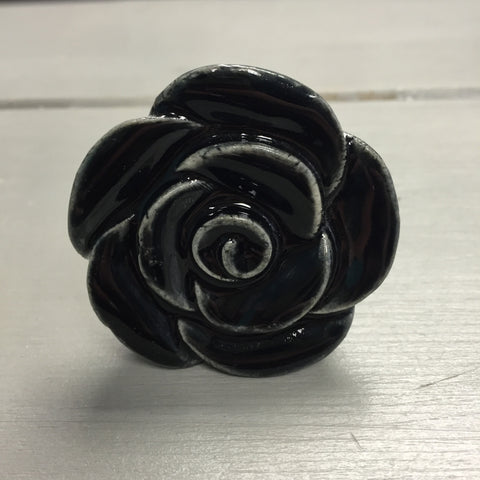 Drawer knobs, large black rose