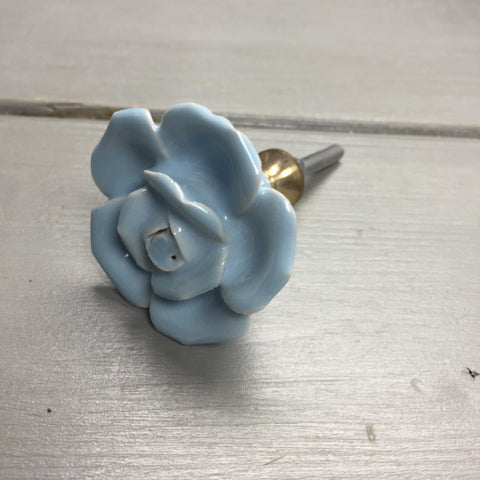 Drawer knobs, blue rose