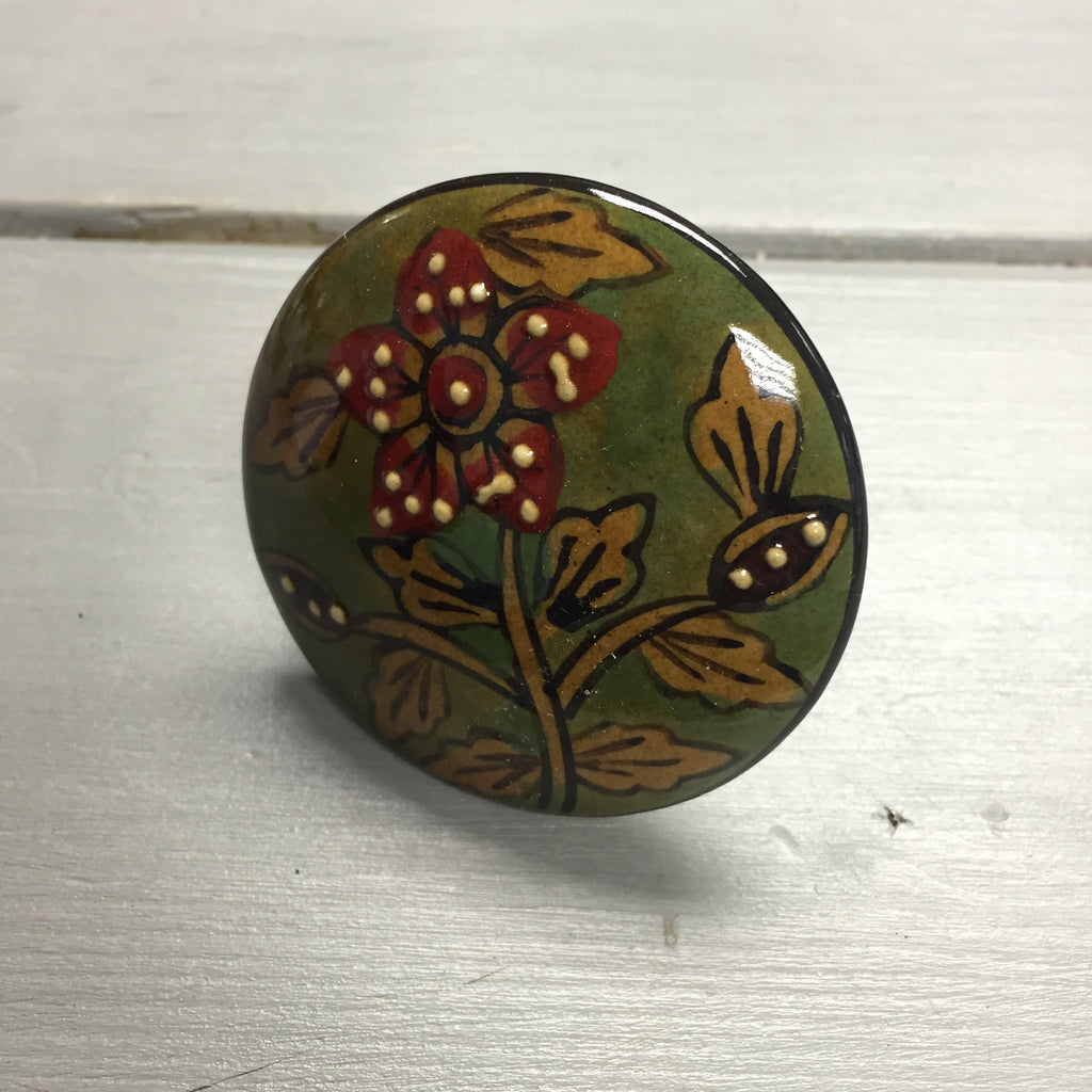 Drawer knobs, large green with red flower - Fifth Corner & BlueBird - 1