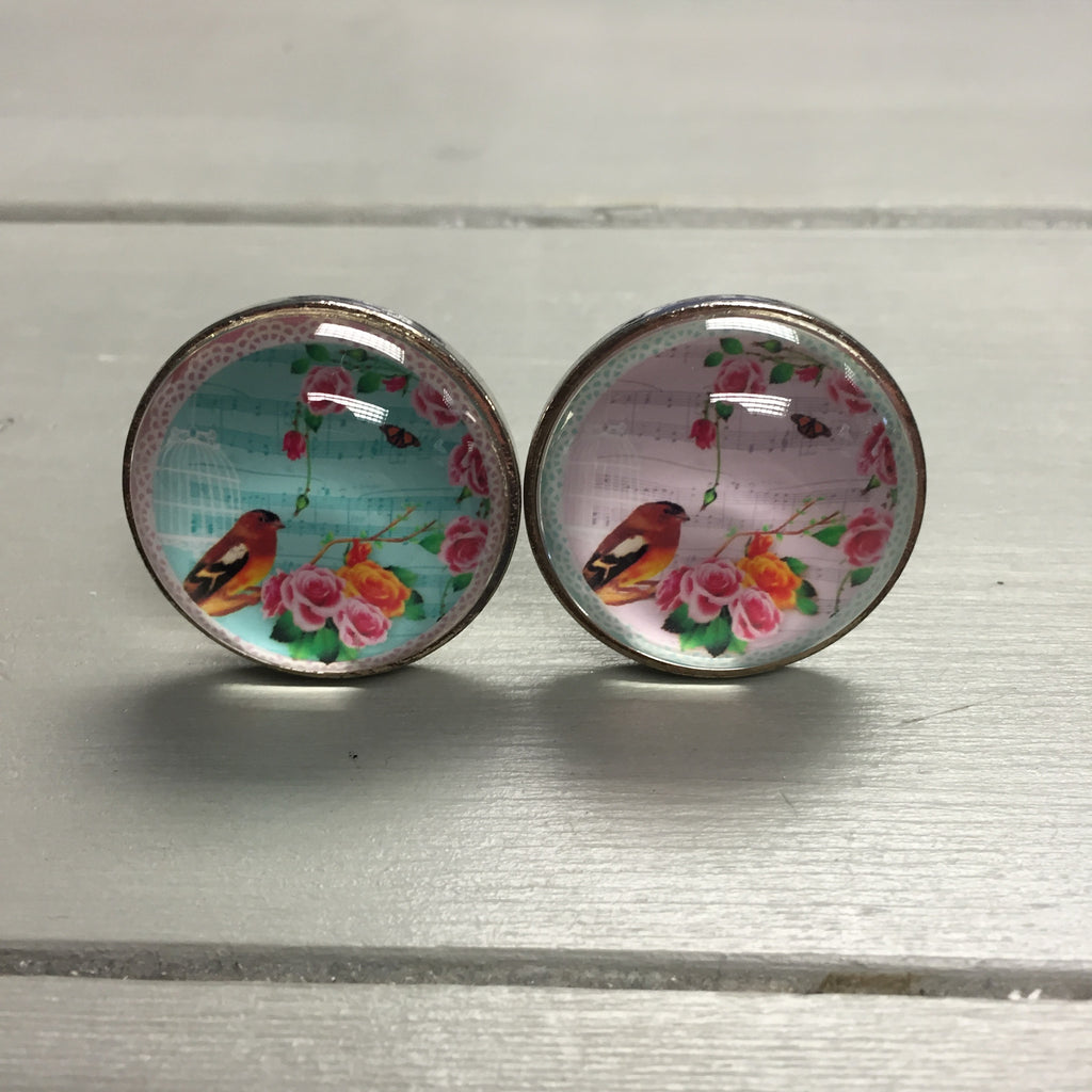 Drawer knobs, glass bird with flowers (pink or blue) - Fifth Corner & BlueBird - 1