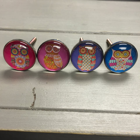 Drawer knobs, glass owl face (pink/purple/blue)