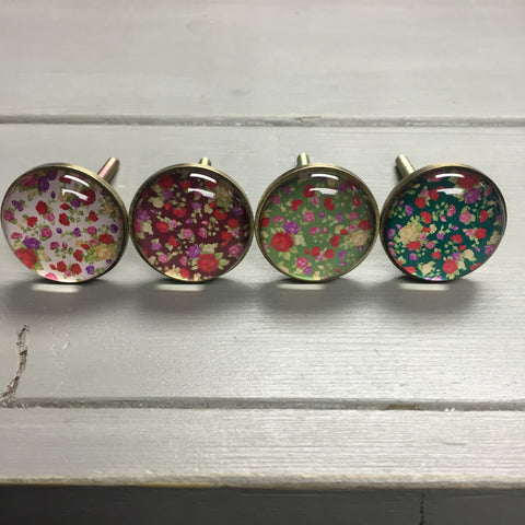 Drawer knobs, glass floral flower print