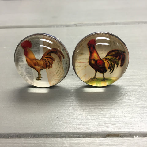 Drawer knobs, glass cockerel (assorted)
