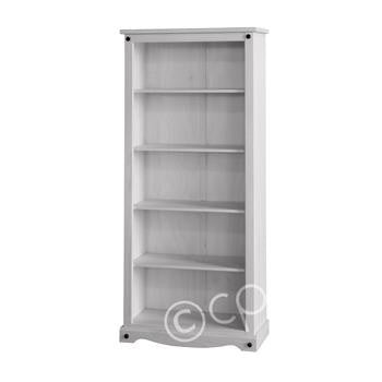 White Washed Tall Bookcase - Fifth Corner & BlueBird