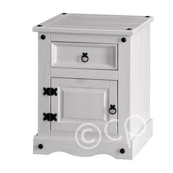 White Washed 1 Door, 1 Drawer Bedside Cabinet
