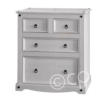 White Washed 2+2 Chest of Drawers