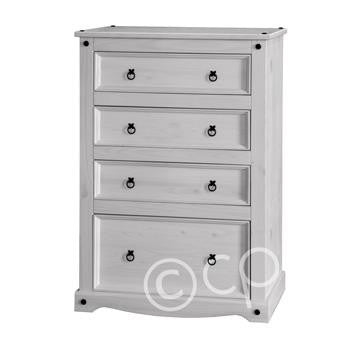 White Washed 4 Drawer Chest - Fifth Corner & BlueBird