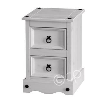 White Washed 2 Drawer Petite Bedside Cabinet
