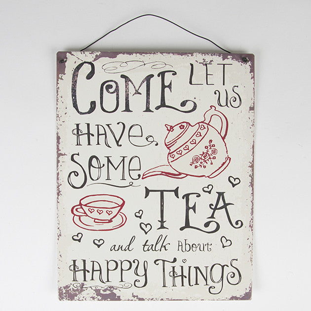 Come Let Us Have Some Tea - Retro Hanging Plaque - Fifth Corner & BlueBird
