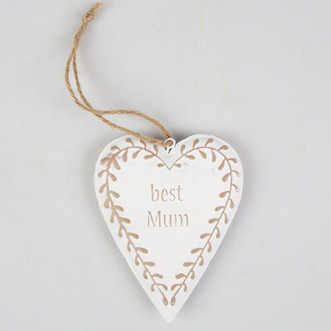 Shabby Chic 'Best Mum' Hanging Heart
