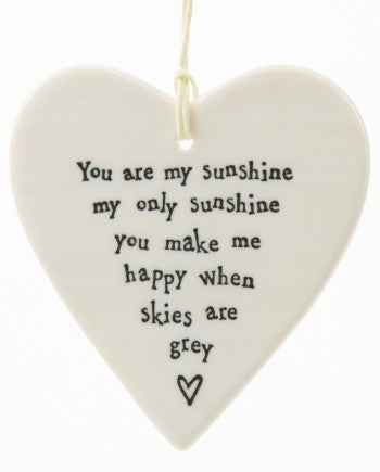 Porcelain Hanging Heart - You Are My Sunshine - Fifth Corner & BlueBird