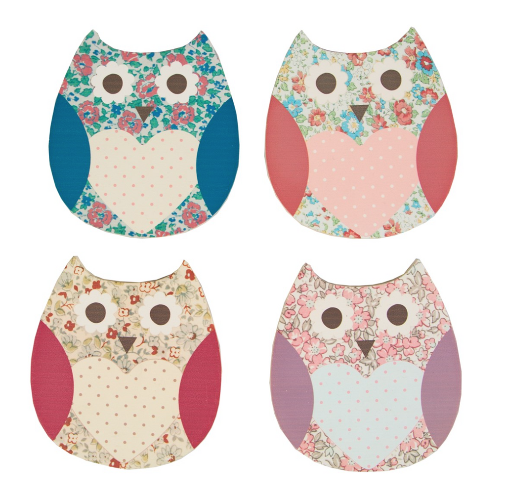 Set of 4 Coasters, Floral Spring Owl - Fifth Corner & BlueBird