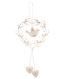 Vintage hanging heart, bird & leaves - Fifth Corner & BlueBird - 1