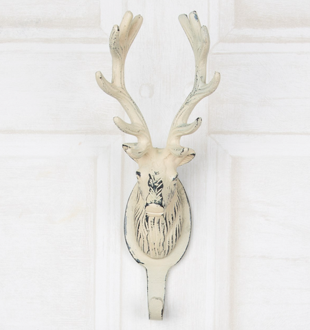 Metal stag hook, cream