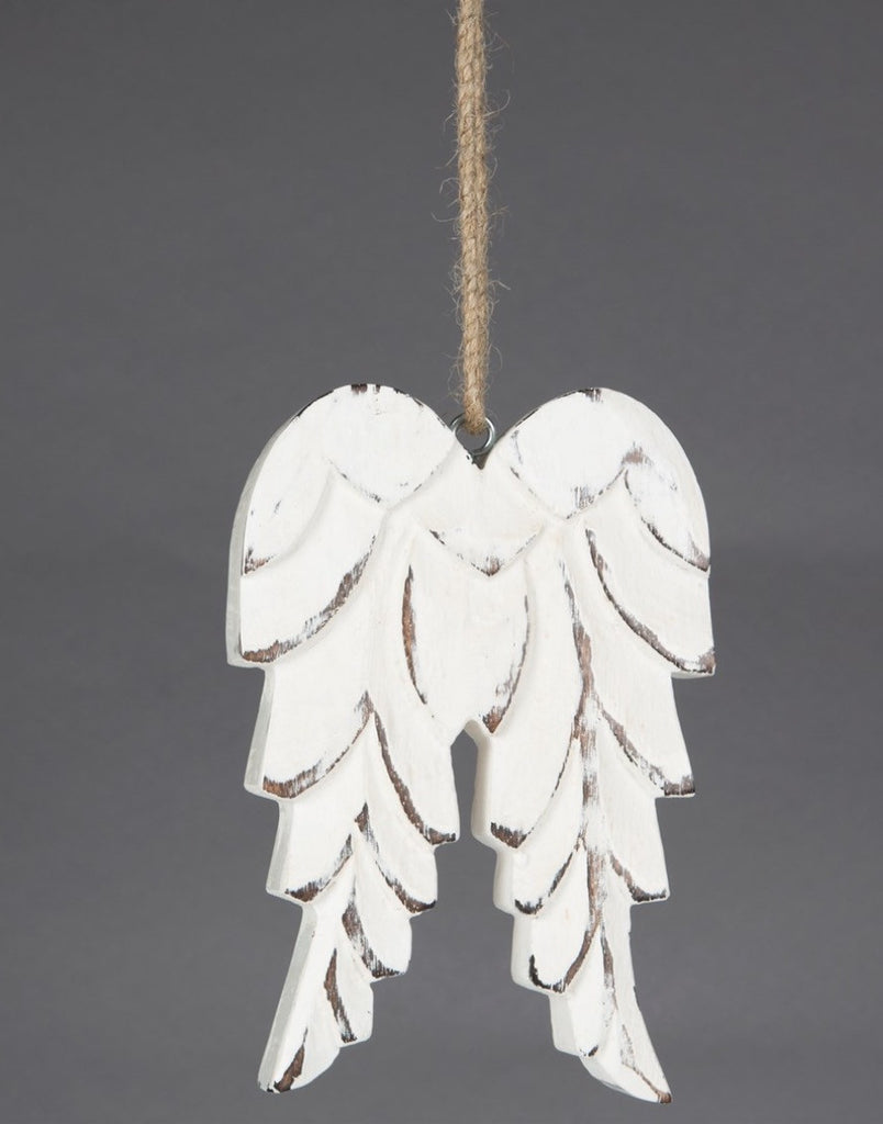 Carved White Angel Wings Hanging  Decoration - Fifth Corner & BlueBird