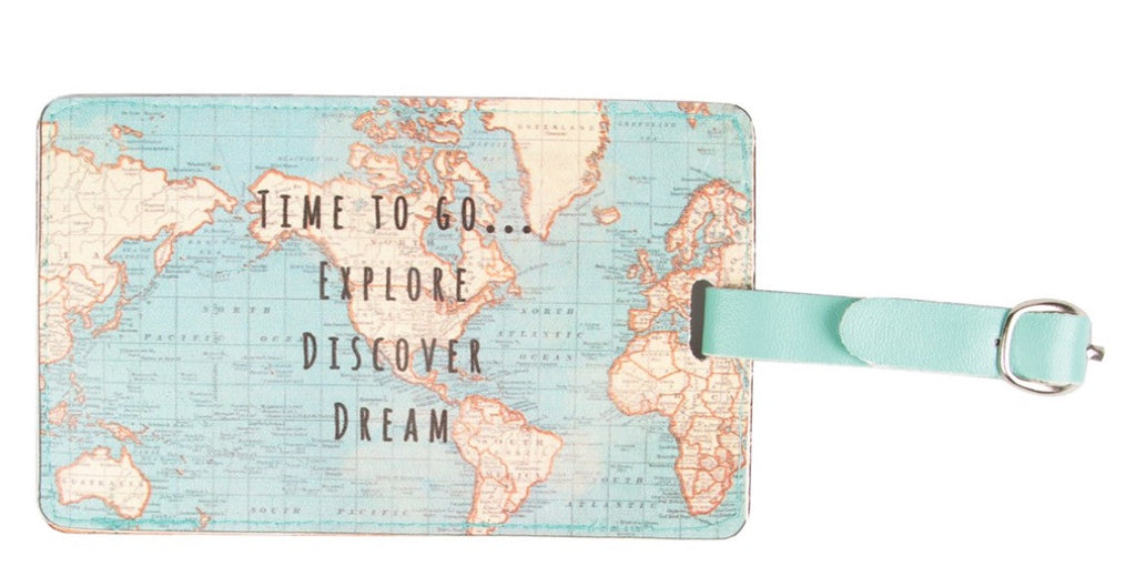 Vintage Map Time To Go Luggage Tag - Fifth Corner & BlueBird