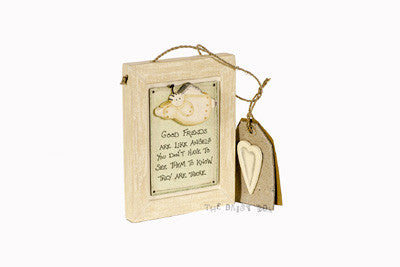 Good Friends Are Angels  - Wooden Sign With Angel - Fifth Corner & BlueBird