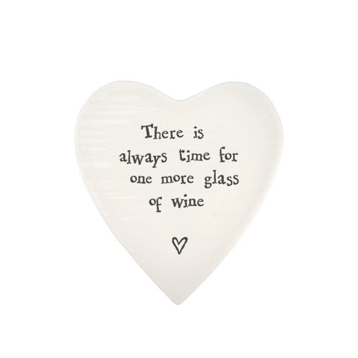 Porcelain Heart Coaster - There is Always Time for one More Glass of Wine - Fifth Corner & BlueBird