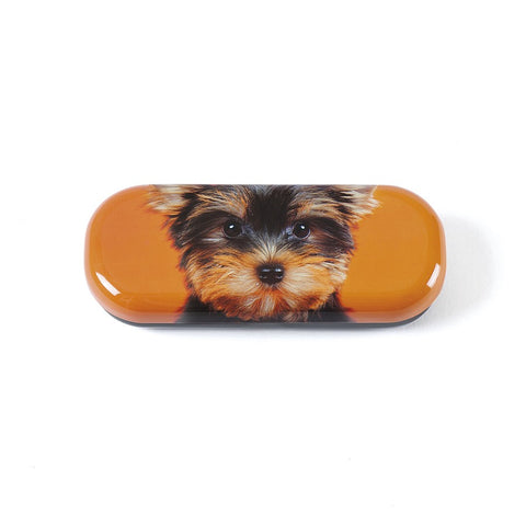 Yorkie on Orange Glasses Case