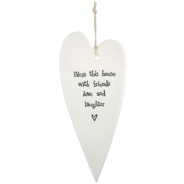Porcelain Hanging Heart - Bless This House With Friends - Fifth Corner & BlueBird