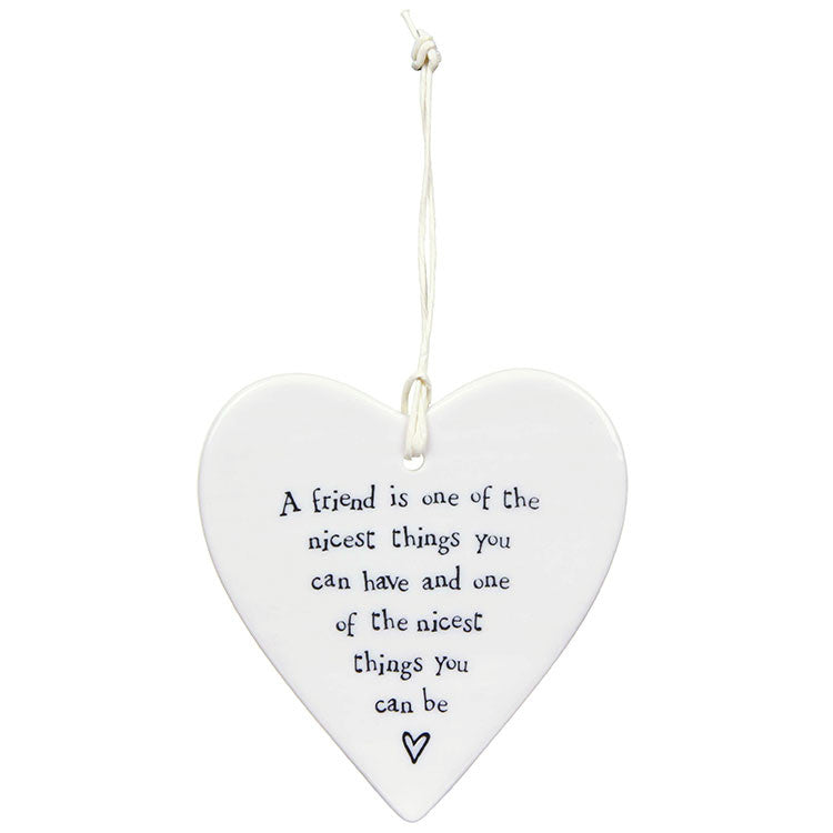 Porcelain Hanging Heart - A Friend is one of the Nicest - Fifth Corner & BlueBird