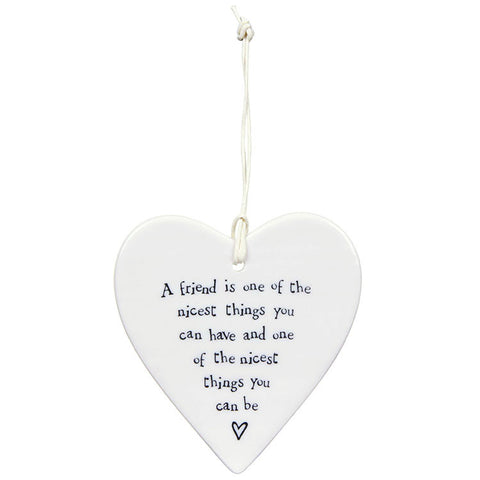 Porcelain Hanging Heart - A Friend is one of the Nicest