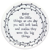 Porcelain Leaf Coasters  - assorted sayings - Fifth Corner & BlueBird - 3