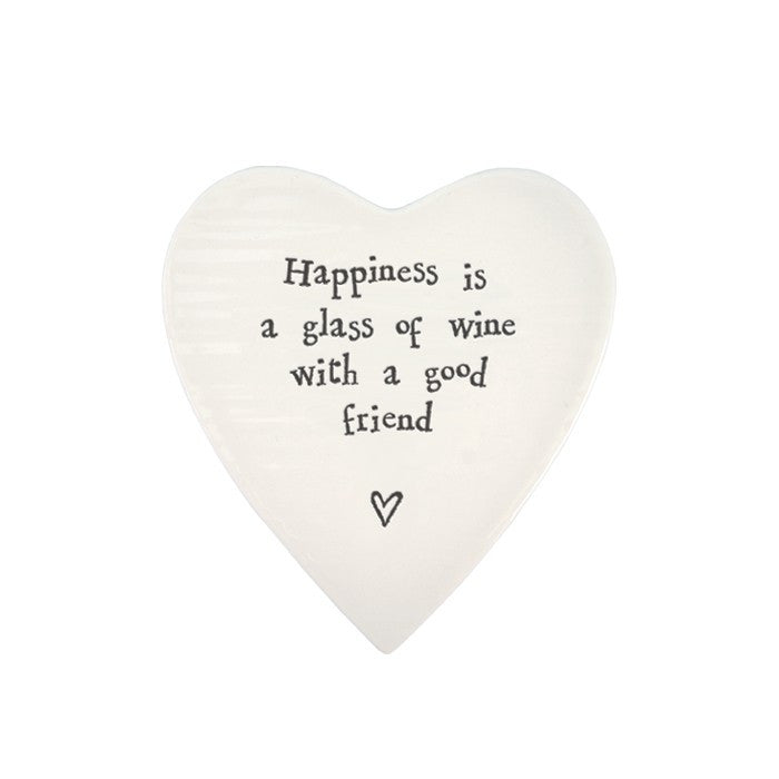 Porcelain Heart Coaster - Happiness is a Glass of Wine with a Good Friend - Fifth Corner & BlueBird